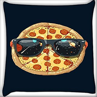 Snoogg Pizza Glares 22 X 22 Inch Throw Pillow Case Sham Pattern Zipper Pillowslip Pillowcase For Drawing Room Sofa Couch Chair Back Seat