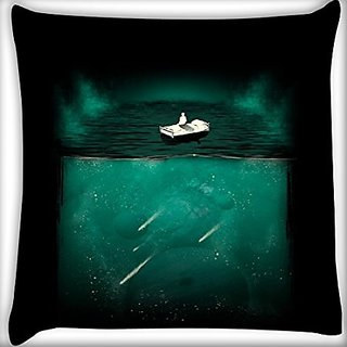 Snoogg Bed On Water 12 X 12 Inch Throw Pillow Case Sham Pattern Zipper Pillowslip Pillowcase For Drawing Room Sofa Couch Chair Back Seat