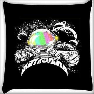 Snoogg Astronaut 14 X 14 Inch Throw Pillow Case Sham Pattern Zipper Pillowslip Pillowcase For Drawing Room Sofa Couch Chair Back Seat