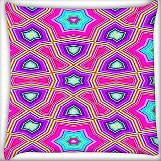 Snoogg Abstract Pink Star Pattern 14 X 14 Inch Throw Pillow Case Sham Pattern Zipper Pillowslip Pillowcase For Drawing Room Sofa Couch Chair Back Seat