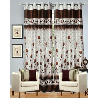 Choco Creation's Set of Coffy Rose Panal 2 pcs Door Polyester Curtains (4X7)