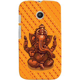 ColourCrust Lord Ganesha Ganpati Devotional Printed Designer Back Cover For Motorola Moto E Mobile Phone - Matte Finish Hard Plastic Slim Case