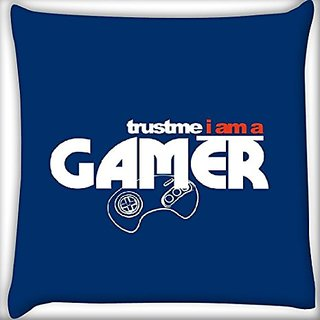 Snoogg Gamer 16 X 16 Inch Throw Pillow Case Sham Pattern Zipper Pillowslip Pillowcase For Drawing Room Sofa Couch Chair Back Seat