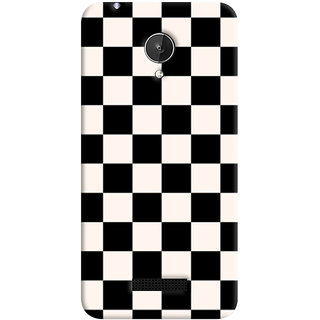 ColourCrust Black and White Checks Pattern Style Printed Designer Back Cover For Micromax Canvas Spark Q380 Mobile Phone - Matte Finish Hard Plastic Slim Case