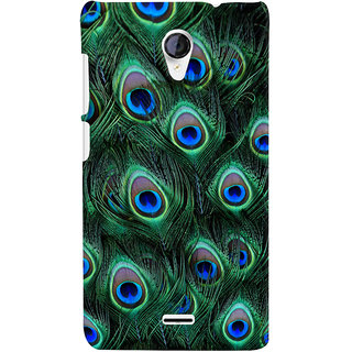 ColourCrust Peacock Feather Pattern Style Printed Designer Back Cover For Micromax Unite 2 A106 Mobile Phone - Matte Finish Hard Plastic Slim Case