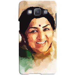 ColourCrust Samsung Galaxy E5 Mobile Phone Back Cover With Lata Mangeshkar - Durable Matte Finish Hard Plastic Slim Case