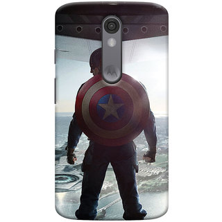 ColourCrust Motorola Moto X Force Mobile Phone Back Cover With Captain America - Durable Matte Finish Hard Plastic Slim Case