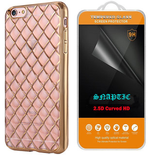 Snaptic Diamond Grid Golden Chrome TPU Cover and 25D HD Tempered Glass for Oppo Neo 5