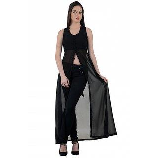 Raabta Plain Black Cape Long Dress with Padded