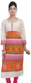 Meia Pink Polkadot Cotton Stitched Kurti