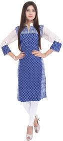 Blue Polkadot Cotton Stitched Kurti