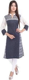 Chichi Black Cotton Polkadot Stitched Kurti