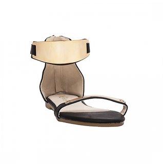 Estatos Open Toe Single Strap Zip Closure Black Coloured Flat Sandal