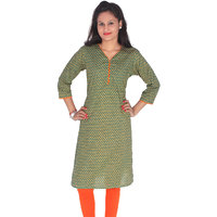 Meia Green Cotton Printed Semi Stitched Kurti