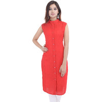 Meia Red Plain Cotton Straight Kurti