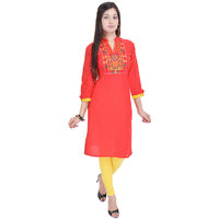 Chichi Red Embroidered Cotton Stitched Kurti