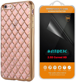 Snaptic Diamond Grid Golden Chrome TPU Cover and 25D HD Tempered Glass for Gionee Pioneer P5L