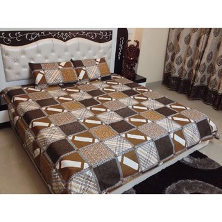 Stylobby 100 Cotton Double Bedsheet With 2 Pillow Covers