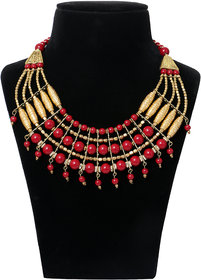 Minha Red And Golden Necklace For Women