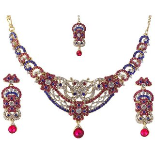 Kriaa by JewelMaze Pink and Blue Necklace Set Gold Plated Necklace Set With Maang Tikka-AAA0037
