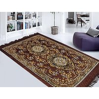 K Decor Brown Polyester Carpet (Assorted Designs) - 1 Pc