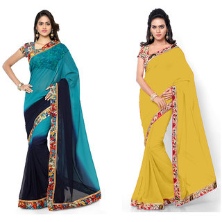 Aaina Combo of 2 Embroidered Faux Georgette Saree with Blouse (FL-Dani lase combo Combo of 2-17)