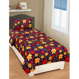 Bsb Trendz 3D Printed Single Bedsheet With 1 Pillow Covers