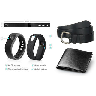 Combo of Bluetooth Smart Fitness Band Black Belt And Black Wallet