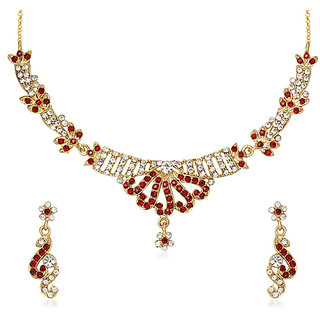 Kriaa by JewelMaze Red and White Austrian Stone Gold Plated Necklace Set-PAA0192