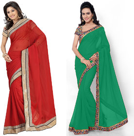 Florence Multicolor Georgette Embroidered Salwar Suit Dress Material (Pack of 2) (Unstitched)
