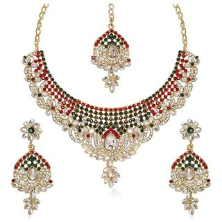 e7570d49c Kriaa by JewelMaze Maroon Austrian Stone Kundan Floral Design Gold Plated  Necklace Set with Maang Tikka