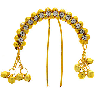 Anuradha Art Golden Finish Traditional Designer Classy Hair Accessories Brooch For Women/Girls