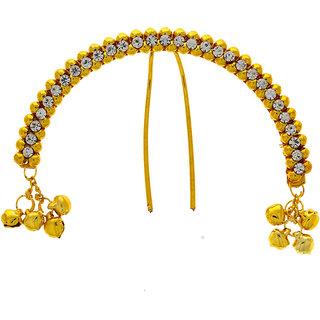Anuradha Art Golden Finish Sparkling Stone Designer Classy Hair Accessories Brooch For Women/Girls