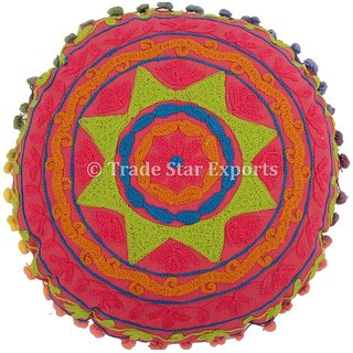 Embroidered Uzbek Suzani Round Mandala Cushion Cover Pink Floor Pillow Cases Decorative Home Dcor