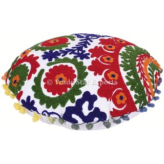 Vintage Uzbek Suzani Round Throw Pillow Cases Mandala Decorative Cushions Cover