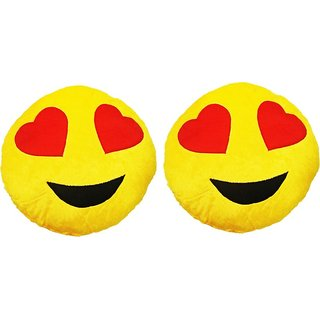 Gold Dust HMI2x1 Smiley Emoticon Decorative Cushion  - 15 inch (Multicolor)
