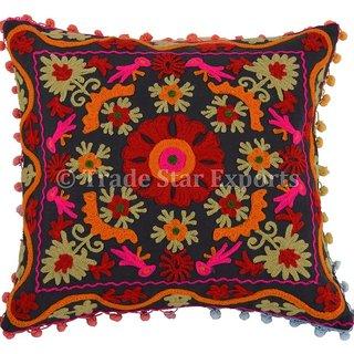 Suzani Pillow Cover Indian Boho Throw Cushion Cover Embroidery Pom Pom Shams