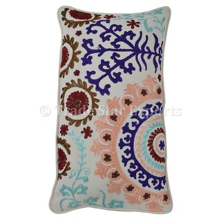 Embroidered Pillow Cover Decorative Suzani Cushion Sofa Throw Cotton Pillow Case