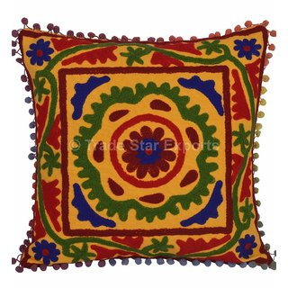 Indian Embroidered Suzani Cushion Cover 1616Decorative Pom Pom Pillow Case