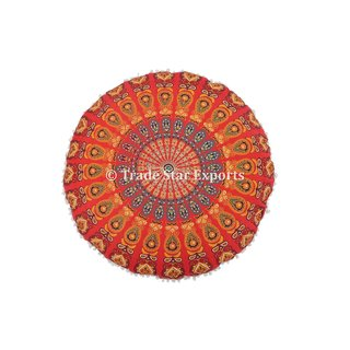 Decorative Large Floor Pillow with Insert Mandala Meditation Round Cushion Cover