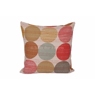 Indian Polka Dot Print Kantha Pillow Cover Ethnic Vintage Throw Cushions 16