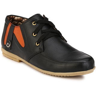 Wave Walk Men Trendy Synthetic Leather Black Casuals Shoes