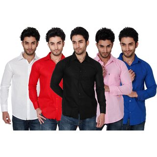 b1c3a550173 Buy Black Bee Multi color Solid Slim Fit Casual Poly-Cotton Shirts Combo of  5 Online - Get 55% Off