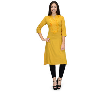 Tunic Nation Women's A-Line Yellow Poly crepe Embroidered Kurti