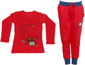 IndiWeaves Girls Combo Pack 2 (Pack of 1 Full Sleeves T-Shirts and 1 Lowers/Track Pant )_Red::Red_Size:-6-7 Years