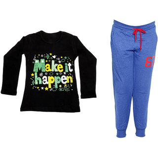IndiWeaves Girls Combo Pack 2 (Pack of 1 Full Sleeves T-Shirts and 1 Lowers/Track Pant )_Black::Blue_Size:-6-7 Years