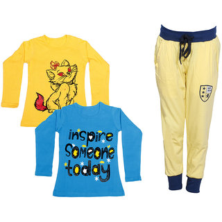 IndiWeaves Girls Combo Pack 3 (Pack of 2 Full Sleeves T-Shirts and 1 Lowers/Track Pant )_Yellow::Blue::Yellow_Size:-6-7 Years