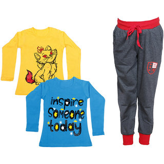 IndiWeaves Girls Combo Pack 3 (Pack of 2 Full Sleeves T-Shirts and 1 Lowers/Track Pant )_Yellow::Blue::Grey_Size:-6-7 Years