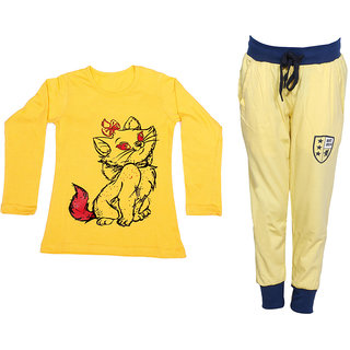 IndiWeaves Girls Combo Pack 2 (Pack of 1 Full Sleeves T-Shirts and 1 Lowers/Track Pant )_Yellow::Yellow_Size:-6-7 Years