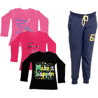 IndiWeaves Girls Combo Pack 4 (Pack of 3 Full Sleeves T-Shirts and 1 Lowers/Track Pant )_Pink::Red::Black::Navy Blue_Size:-6-7 Years